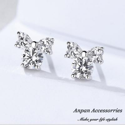 ANPAN愛扮S925純銀飾 法式八心八箭鑽石蝴蝶結耳釘式耳環