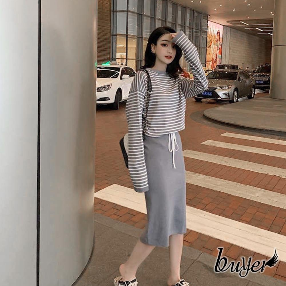 【白鵝buyer】韓妞 橫紋顯瘦兩件式套裝裙(藍灰條紋+裙)