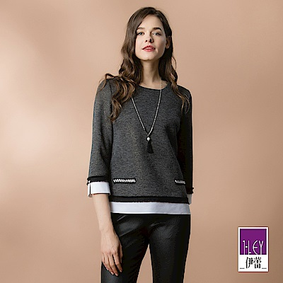 ILEY伊蕾 配色造型流蘇裝飾織蔥圓領上衣(灰)