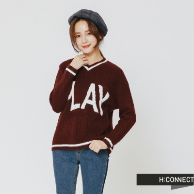 H:CONNECT 韓國品牌 女裝 - 滾邊麻花針織上衣-酒紅(快)