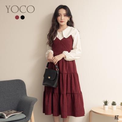 東京著衣-YOCO 復古女伶可調式細肩帶蛋糕長裝(共二色)
