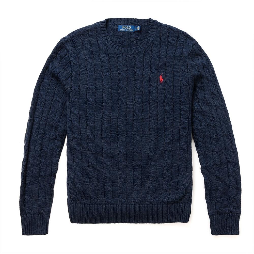 Polo Ralph Lauren 年度熱銷經典刺繡小馬麻花針織毛衣-深藍色
