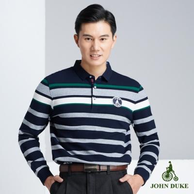 JOHN DUKE 約翰公爵純棉品味休閒POLO衫_藍/灰(63-8V5850)