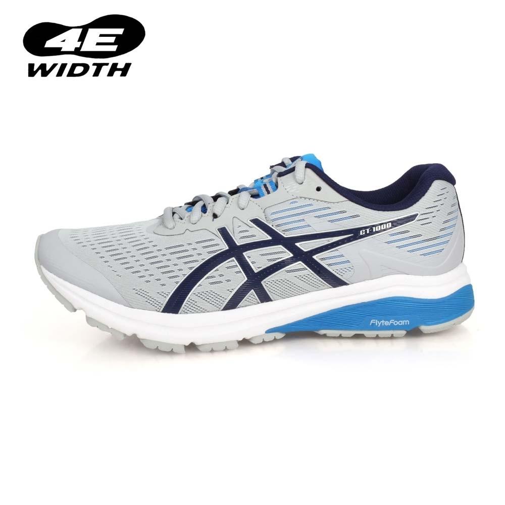 ASICS 男 慢跑鞋-4E GT-1000 8 灰丈青寶藍