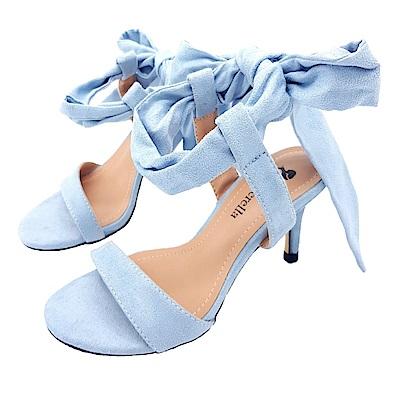 Cinderella Fashions小尺碼極簡性感一字繫踝綁帶中跟涼鞋-淺藍色