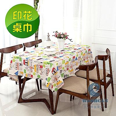 Washcan瓦士肯 清新印花桌巾-北歐小鎮 138x180cm