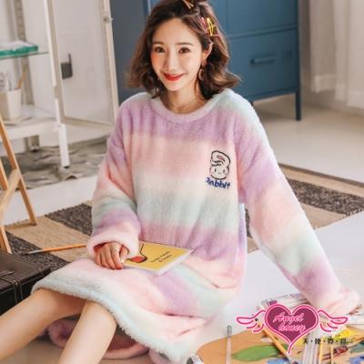 保暖睡衣 夢遊幻境 法蘭絨一件式長袖居家連身睡裙(紫F) AngelHoney天使霓裳