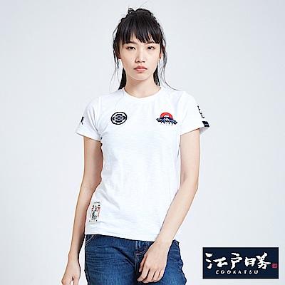 EDWIN 江戶勝 潮風圖騰短袖T恤-女-白色