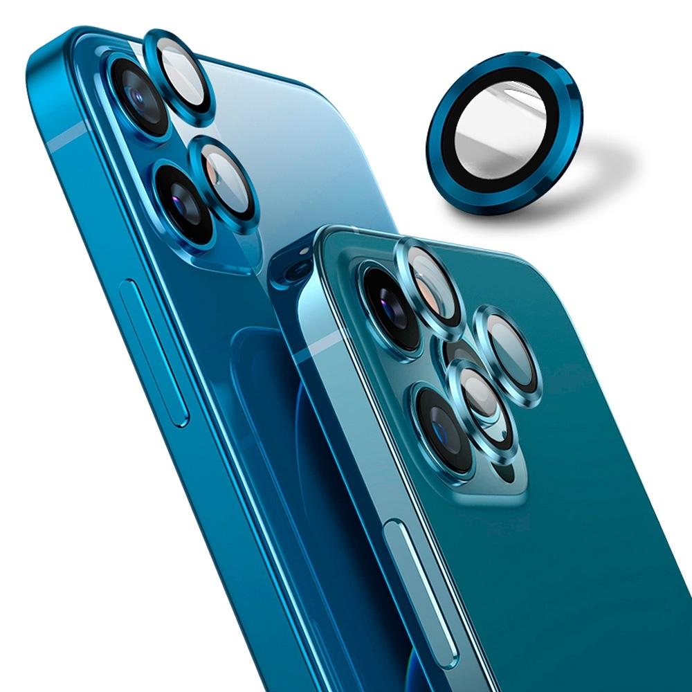 【Ayss】藍寶石鏡頭保護貼 iPhone 12 mini / iPhone 12/莫氏硬度9/金屬邊框/鏡頭全包覆式/AR光學玻璃/疏水疏油-2入-藍