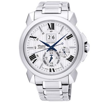 SEIKO 精工 人動電能 自動追時萬年曆手錶 SNP139J1-白X銀/42mm