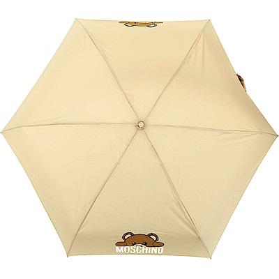 MOSCHINO Supermini 泰迪熊躲貓貓圖案摺疊晴雨傘(卡其色)