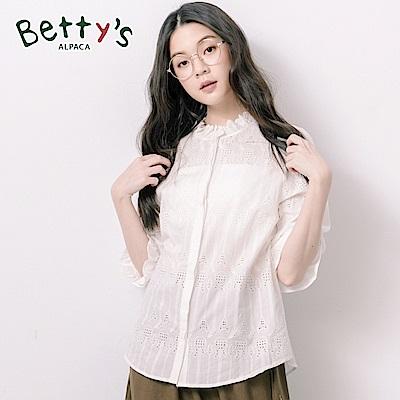betty's貝蒂思 縷空蕾絲領微透襯衫(白色)