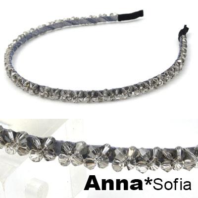 【滿520打7折】AnnaSofia 簡約閃晶花編 韓式細髮箍(銀灰系)