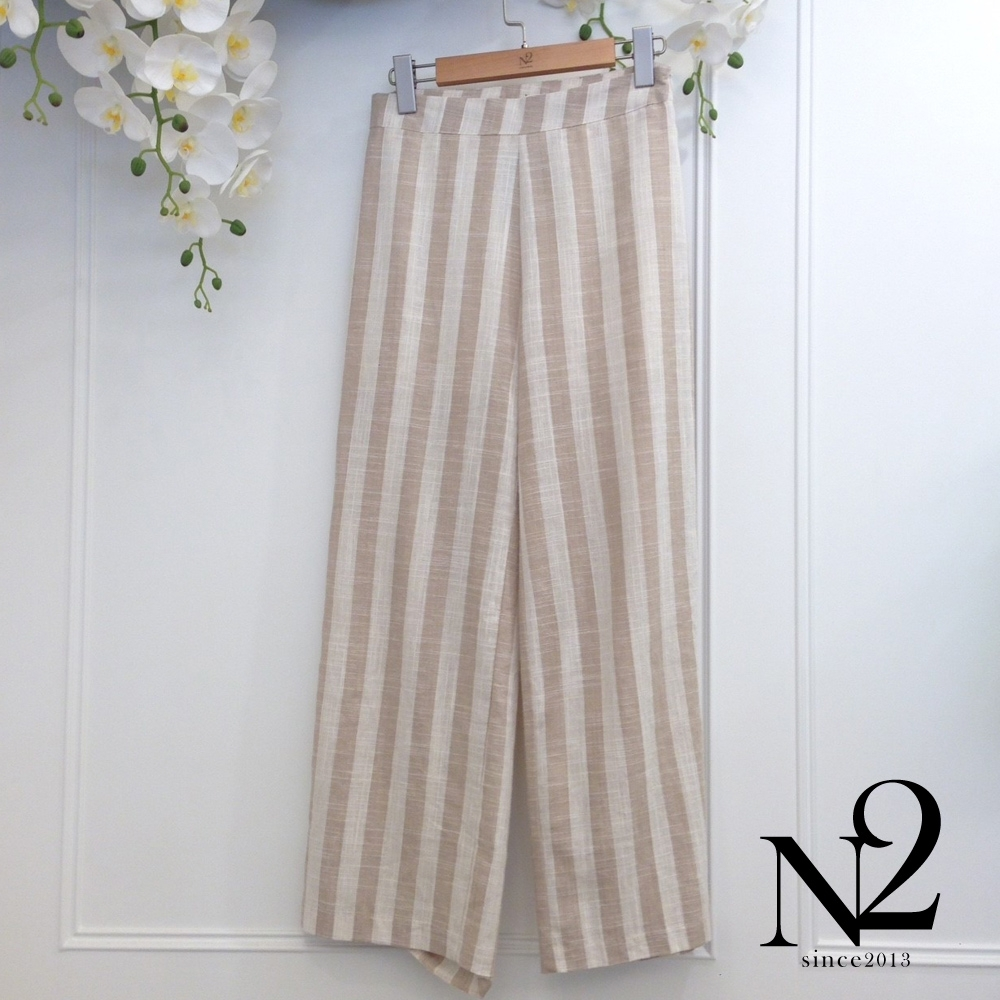 褲子 正韓 雙色直紋棉麻長褲 N2