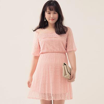 AIR SPACE PLUS 氣質網紗拼接蕾絲短洋裝(粉紅)