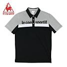 le coq sportif 法國公雞牌經典品牌LOGO拼接短袖POLO衫 男-黑