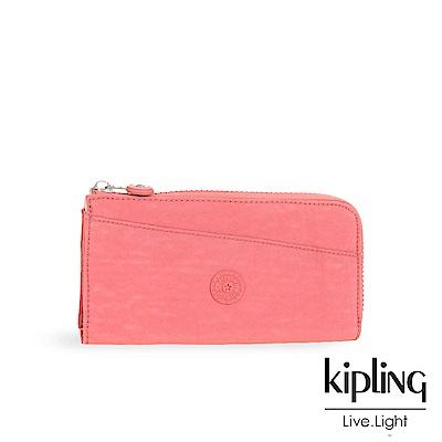 Kipling微甜薔薇粉素面長夾-ANILOCK