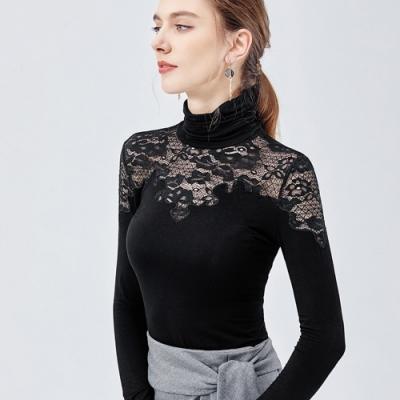 專注內搭-黑色高領內搭長袖T恤拼接性感鏤空蕾絲緊身上衣(S-3XL可選)