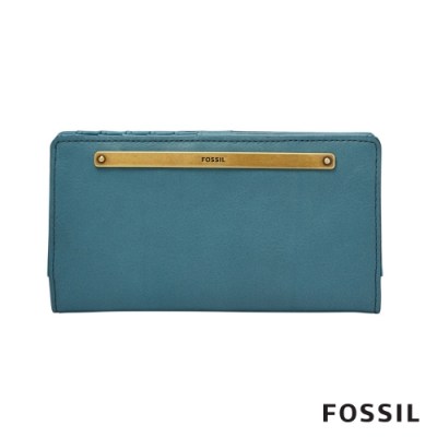 FOSSIL LIZA 輕巧型真皮零錢袋長夾-湖水藍