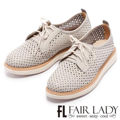 Fair Lady Soft Power 軟實力 透氣鏤空綁帶牛津鞋 灰