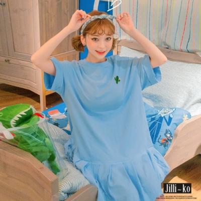 JILLI-KO 仙人掌純色魚尾連身裙- 淺藍