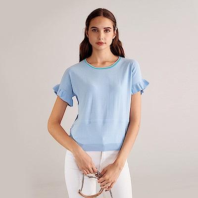 獨身貴族 簡約百搭荷葉袖針織上衣(2色)-純粹藍