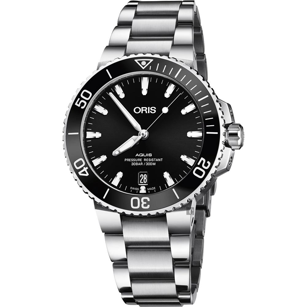 Oris 豪利時 Aquis 時間之海專業潛水機械錶-黑/40mm