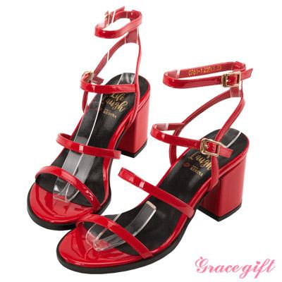 Grace gift X Kerina妞妞-層次細帶粗跟涼鞋 紅