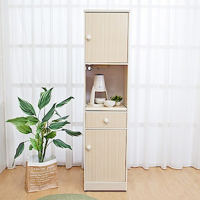 Birdie南亞塑鋼-1.5尺二門一抽一拉盤塑鋼電器櫃(白橡色)44x41x180cm