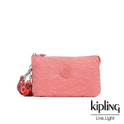 Kipling微甜薔薇粉三夾層配件包(大)-CREATIVITY XL