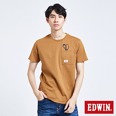 EDWIN 職人手作 LOGO口袋短袖T恤-男-土黃