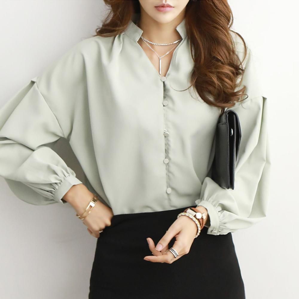 正韓 簡約V領燈籠袖雪紡襯衫 (共二色)-N.C21