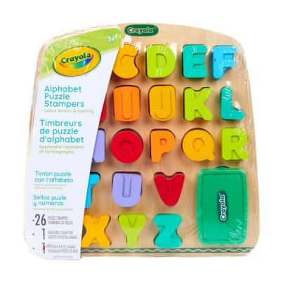 美國crayola 早教創意啟蒙趣味蓋印塗鴉字母木拼圖