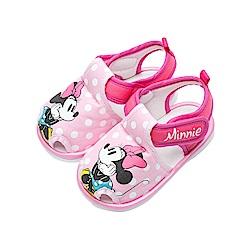 迪士尼童鞋 米妮 寶寶護趾嗶嗶涼鞋-桃