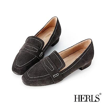 HERLS 全真皮車縫壓線麂皮樂福鞋-深灰
