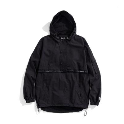 Y.A.S X Challenge聯名款 織帶連帽半開襟風衣-黑白