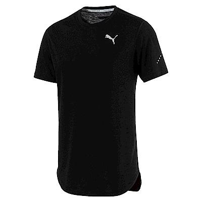 PUMA-男性慢跑系列素色短袖T恤-黑色-歐規