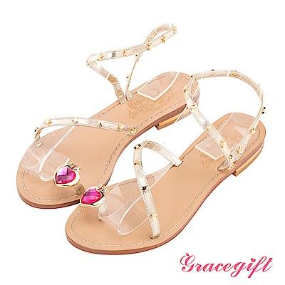 Grace gift-美少女戰士月光菱鏡繞帶涼鞋 金