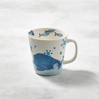 日本澤藍美濃燒 海之島系列馬克杯-企鵝滑步 -285ml