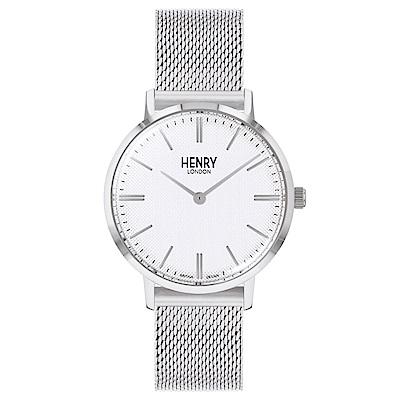 Henry London 英倫時尚米蘭帶手錶-白X銀/34mm