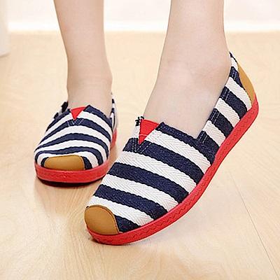 韓國KW美鞋館 春意盎然條紋好穿休閒鞋-藍色