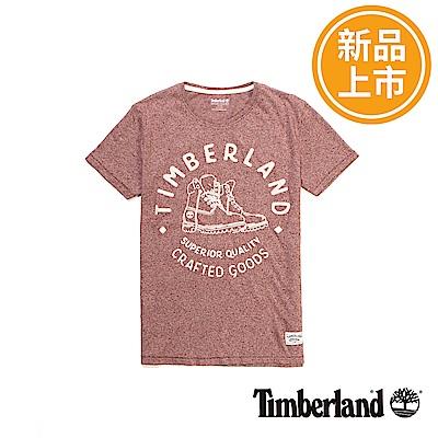 Timberland 男款磚紅色KENNEBEC RIVER靴款圖案短袖T恤