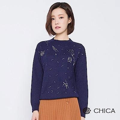 CHICA 冬日派對煙花圖騰立領針織衫(2色)
