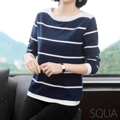 SQUA 橫條紋肩金屬扣上衣-(M~XL)