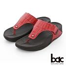 【bac】繽紛曼谷 - 壓紋厚底彈力紓壓夾腳拖鞋-紅