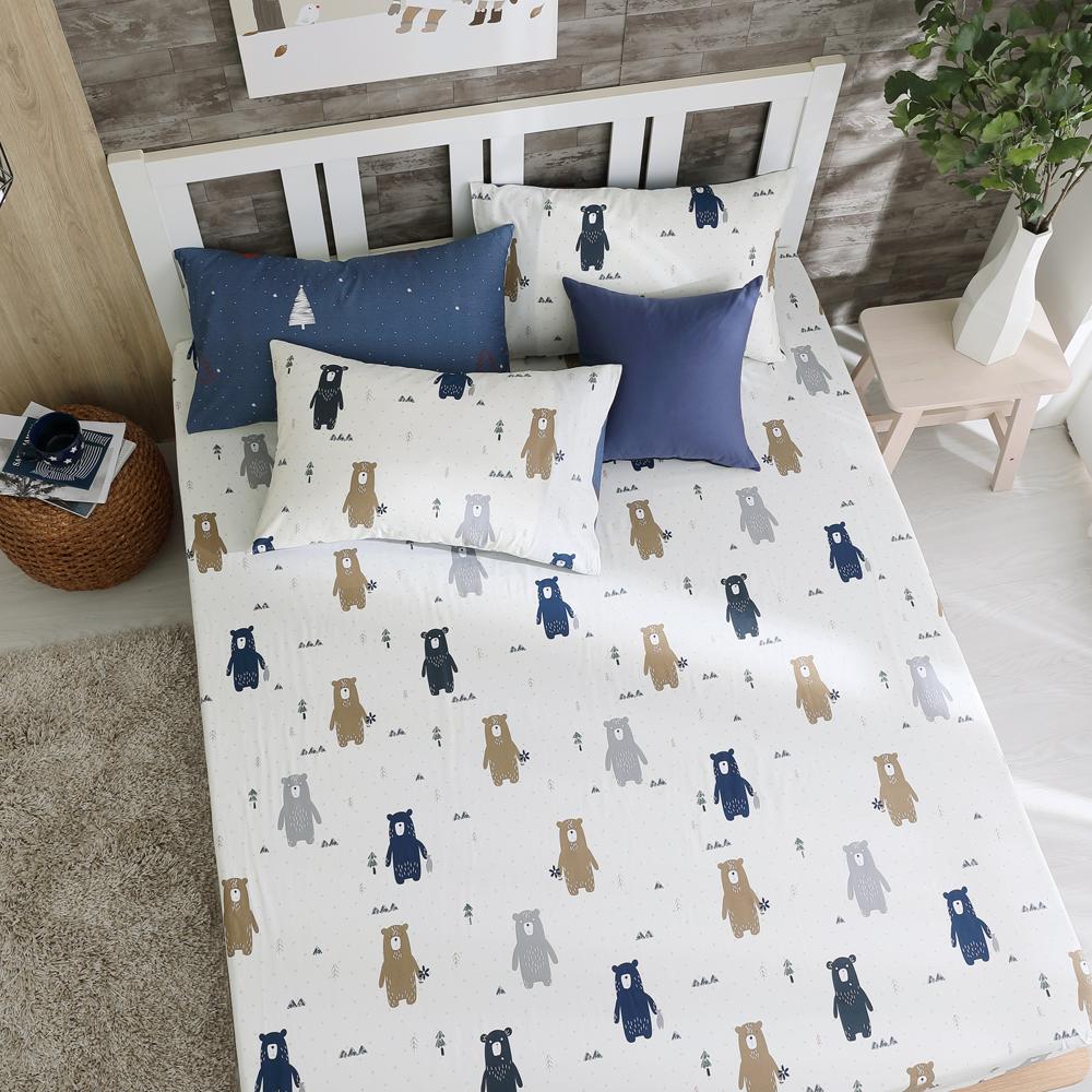 鴻宇 100%精梳棉 英倫小熊 單人床包枕套二件組