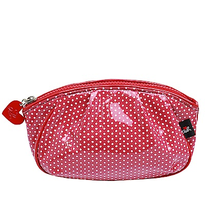 agnes b.愛心形狀拉鍊點點 防水PVC船型化妝包(大款/紅色)