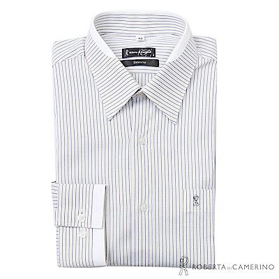 ROBERTA諾貝達 台灣製 清新型男 合身版 條紋長袖襯衫  黃藍
