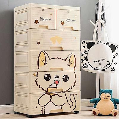 Mr-box-大面寬-五層抽屜式附輪收納櫃-可愛貓