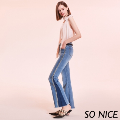 SO NICE率性鑽帶織條喇叭牛仔褲